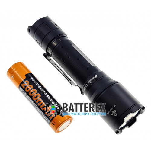 Фонарь тактический Fenix TK06 800 люмен + аккумулятор 18650 Fenix 2600mah microUSB - оригинал