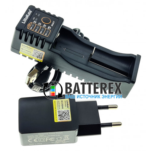 LiitoKala Lii-100B - зарядка на 1 аккумулятор AA, AAA, Li-ion, LiFePO4 (версия без функции Powerbank) + сетевой USB адаптер Liitokala 5V 2A