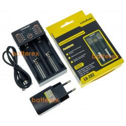 LiitoKala Lii-202 (универсальное зарядное на 2 аккумулятора с функцией Powerbank) + сетевой USB адаптер Liitokala 5V 2A