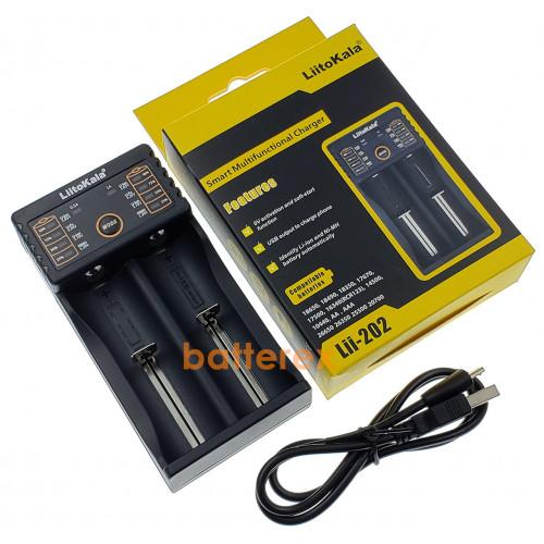 LiitoKala Lii-202 - зарядное устройство на 2 аккумулятора AA, AAA и Li-ion/LiFePO4 с функцией PowerBank и выбором тока 0,5/1А