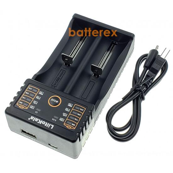 Зарядное устройство LiitoKala Lii-202 на 2 аккумулятора AA, AAA и Li-ion/LiFePO4 с функцией PowerBank  + сетевой USB адаптер Liitokala 5V 2A