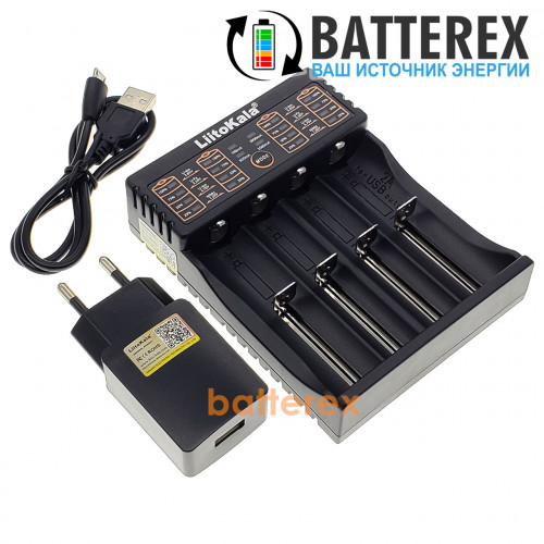 LiitoKala Lii-402 (универсальное зарядное на 4 аккумулятора с функцией Powerbank) + сетевой USB адаптер Liitokala 5V 2A