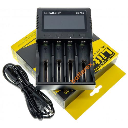 LiitoKala Lii-PD4 - сетевое зарядное устройство на 4 аккумулятора Ni-MH/Li-ion/LiFePO4 (цифровой дисплей, ток заряда 0,5A/1A/2A)