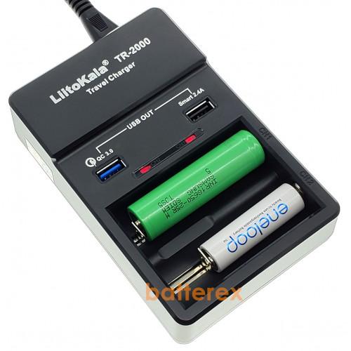 LiitoKala TR-2000 Travel Charger - зарядное устройство на 2 аккумулятора Li-ion/NiMH и 2 USB-выхода