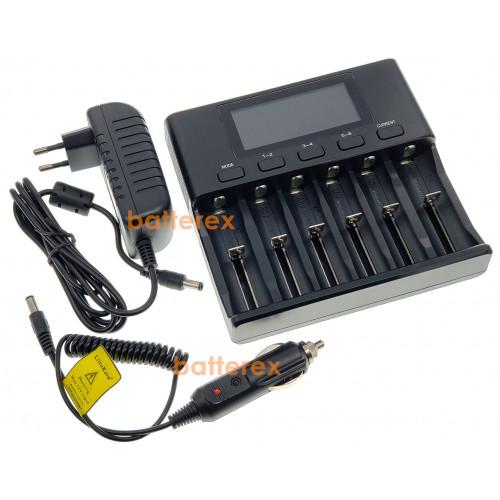 LiitoKala Lii-S6 + автоадаптер - зарядное устройство на 6 аккумуляторов Li-ion/LiFePO4/Ni-MH. Гарантия 12 месяцев.