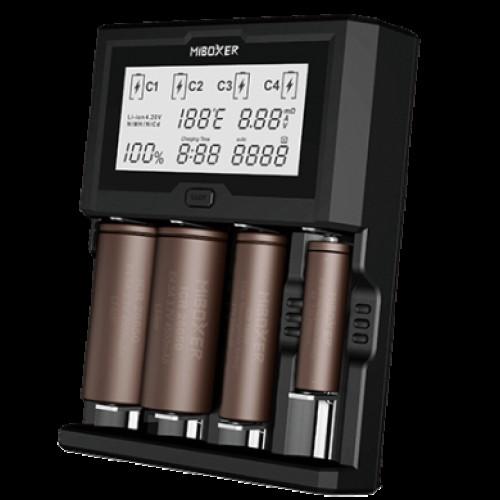 MIBOXER C4-12 - мощная 4-канальная 12-амперная зарядка для Li-ion/Ni-MH аккумуляторов (ток заряда до 3А на каждый канал). Гарантия 12 месяцев.