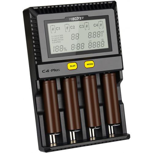 MIBOXER C4 Plus - быстрая 4-канальная зарядка для Li-ion/LiFePO4/NiMH/Ni-Cd аккумуляторов (ток заряда до 2,5А). Гарантия 12 месяцев.