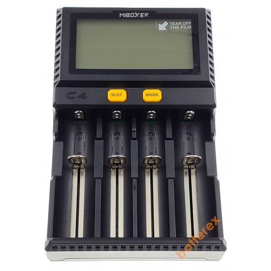 MIBOXER C4 V4 с разрядом - интеллектуальная 4-канальная зарядка для Li-ion/LiFePO4/Ni-MH (ток заряда до 1.5А, разряд в 4-м слоте). Гарантия 12 месяцев.