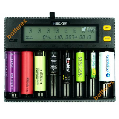 MIBOXER C8 - универсальная 8-канальная зарядка для Ni-MH/Ni-Cd/Li-ion/LiFePO4 аккумуляторов. Гарантия 12 месяцев.