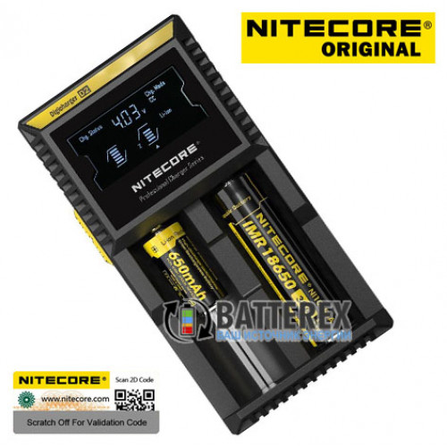 Nitecore D2 - универсальное зарядное устройство с дисплеем на 2 аккумулятора Li-ion / NiMH