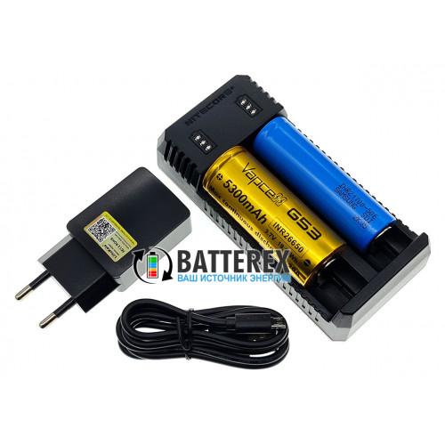 Nitecore UI2 - зарядка на 2 аккумулятора Li-ion (18650, 21700, 14500 и др.) + сетевой USB адаптер Liitokala 5V 2A