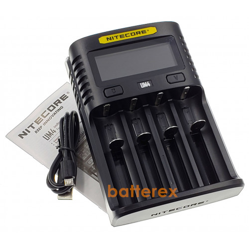 Nitecore UM4 - быстрая универсальная 4х-канальная USB-зарядка. Оригинал, гарантия 12 месяцев