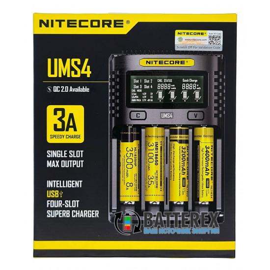 Быстрая универсальная зарядка Nitecore UMS4 на 4 канала с током заряда до 3А и подключением через USB
