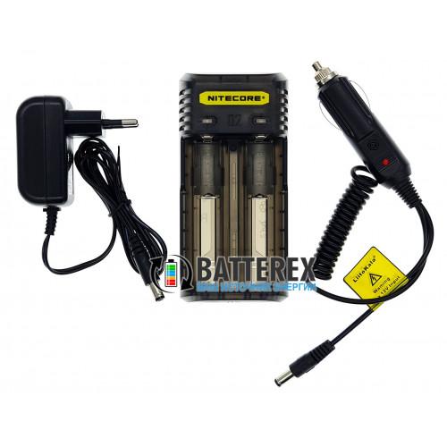 Nitecore Q2 Blackberry (чёрное) - быстрое зарядное устройство на 2 канала для Li-ion аккумуляторов (ток заряда 1А/2А) + автоадаптер