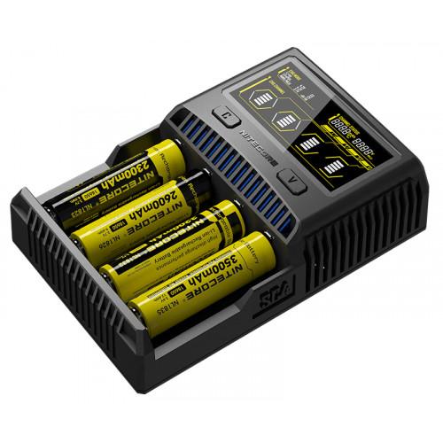 Nitecore SC4 - мощное интеллектуальное зарядное устройство на 4 аккумулятора Li-ion/LiFePO4/Ni-MH с током заряда до 3А
