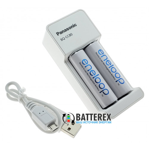 Panasonic Eneloop BQ-CC80 USB Charger + 2 аккумулятора AA Panasonic Eneloop 2000mah