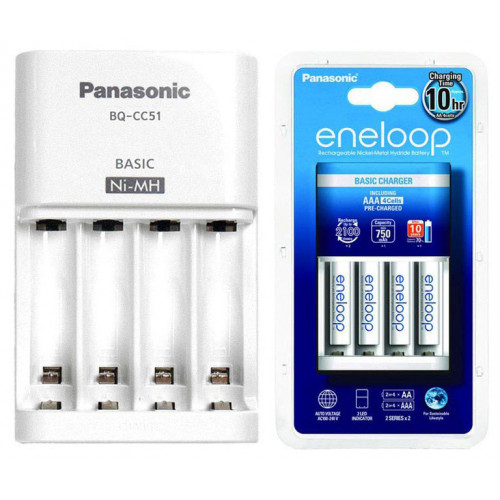 Фирменный комплект Panasonic Eneloop BQ-CC51E Basic Charger Kit: зарядное устройство + 4 аккумулятора AA Panasonic Eneloop 2000mah