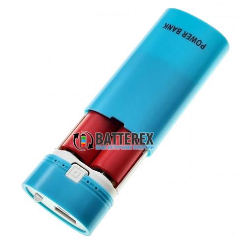 HQ-Tech PowerBank HY-708 Blue - повербанк на 2 аккумулятора 18650 с фонариком - цвет голубой