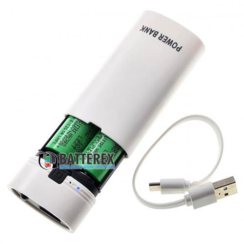 HQ-Tech PowerBank HY-708 White - повербанк на 2 аккумулятора 18650 с фонариком - цвет белый