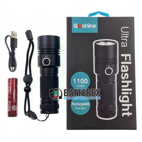 Soshine TC17 USB 1100Lm - ручной фонарь с зарядкой от USB + аккумулятор 18650 Vapcell M35 3500mah Protected