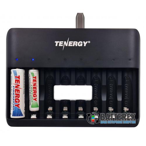 Tenergy TN477U - зарядка на 8 аккумуляторов AA/AAA с подключением через USB Type-C или microUSB