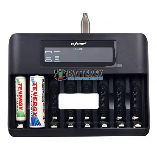 Tenergy TN480U - зарядка на 8 аккумуляторов AA/AAA с подключением через USB Type-C или microUSB