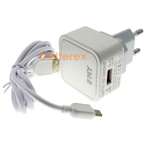 Быстрое USB зарядное устройство EMY MY-A302Q Quick Charge 3.0 съёмная вилка + кабель microUSB 1м