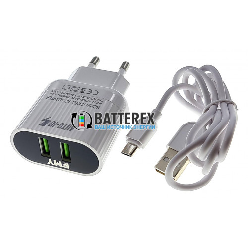 USB зарядное устройство EMY MY-A202 5V 2.4A на 2 выхода USB + кабель microUSB 1м