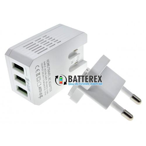 USB зарядное устройство EMY MY-300 3.4A на 3 выхода USB + кабель microUSB 1м