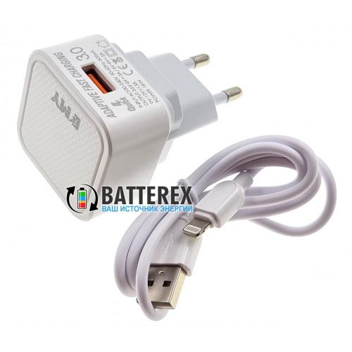 Быстрое USB зарядное устройство EMY MY-A302Q 5-12V 3A QC3.0 со съёмной вилкой + кабель Apple Lightning 1м