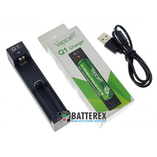 Vapcell Q1 - зарядное устройство на 1 аккумулятор Li-ion (18650, 21700, 26650, 14500, CR123A)