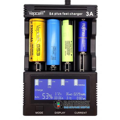Vapcell S4 Plus v2.0 - продвинутое зарядное устройство для Ni-MH и Li-ion аккумуляторов - гарантия 12 месяцев