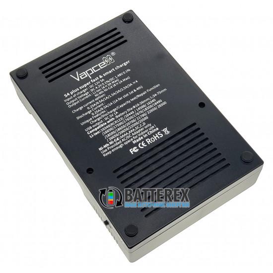 Продвинутое интеллектуальное зарядное устройство Vapcell S4 Plus для Ni-MH и Li-ion аккумуляторов AA, AAA, 18650, 21700, 20700, 26650 и др.
