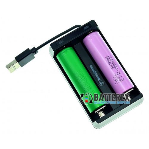 Westinghouse WBC-006-CB - зарядное устройство на 2 аккумулятора Li-Ion со встроенным USB-кабелем