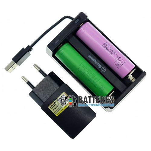Westinghouse WBC-006-CB + USB адаптер Liitokala 5V 2A - 2х-канальная зарядка для Li-Ion аккумуляторов со встроенным USB-кабелем