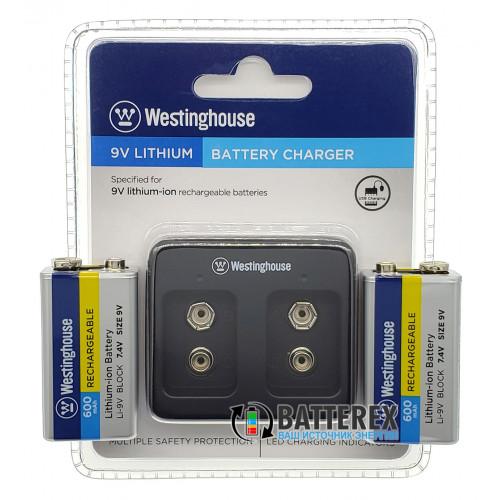 Зарядное устройство Westinghouse WBC-012-DB + 2 аккумулятора Крона Li-ion Westinghouse 600mah