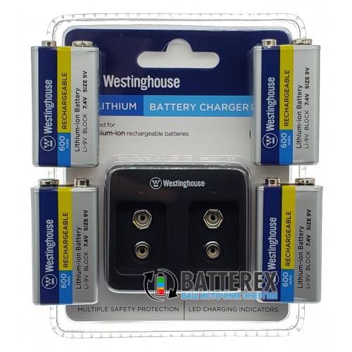Зарядное устройство Westinghouse WBC-012-DB + 4 аккумулятора Крона Li-ion Westinghouse 600mah