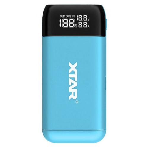 XTAR PB2S Blue - повербанк на 2 аккумулятора 18650/20700/21700 с функцией быстрого заряда QuickCharge