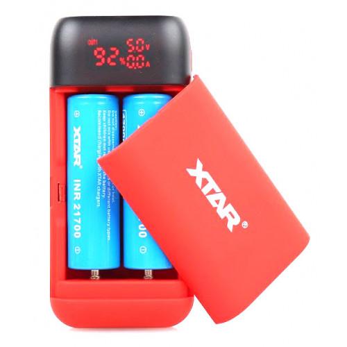 XTAR PB2S Red - зарядка-повербанк на 2 аккумулятора 18650/20700/21700 с функцией быстрого заряда QuickCharge