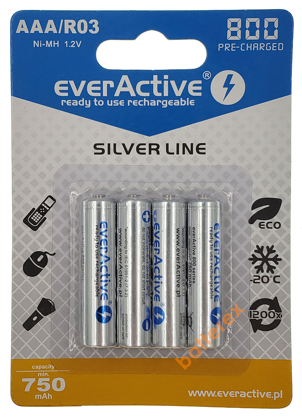 4 аккумулятора AAA Everactive 800mah в подарок