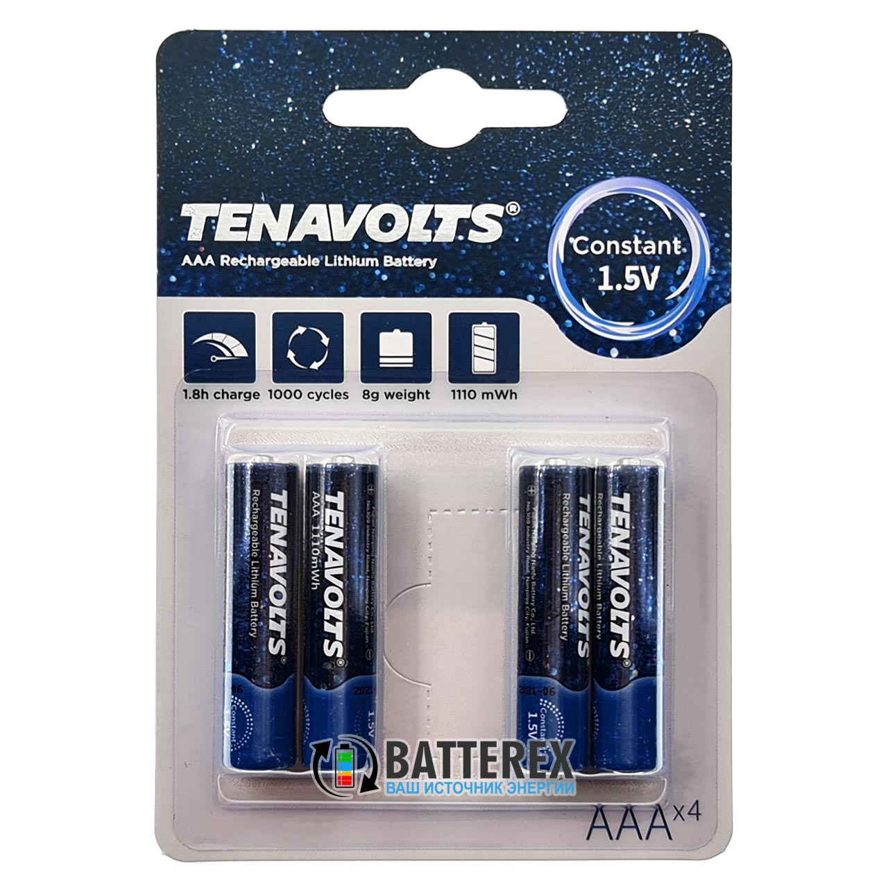 AAA Li-ion Tenavolts 1110mWh 740mah 1,5V
